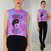 Yin Yang Tie Dye Crop Tank Chill Soft Grunge Galaxy Hippie Womens Clothing Hanmade Size Small - Medium Lilac Lavender Blue Pastel Shirt