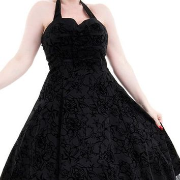 Black Taffeta Flocked | HALTER DRESS