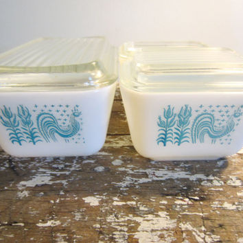 Pyrex Butterprint Refrigerator Dishes Blue by VintageShoppingSpree