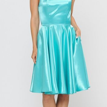 Teal Green A-Line Homecoming Short Dress Criss-Cross Lace-Up Back