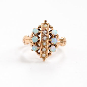 Antique 10K Rose Gold Opal & Seed Pearl Ring - Size 2 1/2 Late 1800s Victorian Embossed Fine Cluster Jewelry