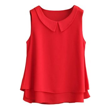 Women's blouses New sleeveless Peter pan Collar shirt For Women Chiffon Blouse Summer Casual Large size Female Tops