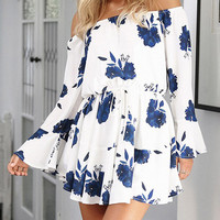White Off Shoulder Tie Waist Flared Sleeve Mini Dress