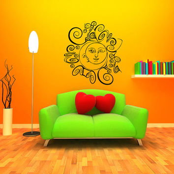 Wall Decal Vinyl Sticker Decals Art Home Decor Design Murals Sun Moon Crescent Dual Ethnic Stars Night Symbol Sunshine Fashion Bedroom AN7
