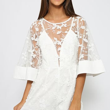 Deja Vu Playsuit - White