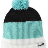neff Men's Snappy Pom Beanie, White/Mint/Black, One Size
