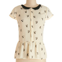 ModCloth Darling Mid-length Cap Sleeves Peplum Poised Paws Top