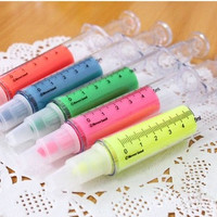 New Arrival! Set of 5 emulational syringe candy color Marker pen, Highlighter pen for paper working, scrapbook, wedding