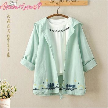 Trendy Spring Women Jacket Japanese Style Mori Girl Cotton Linen Tree Embroidery Long Sleeve Hooded Casual Thin Coat Female Outerwear AT_94_13
