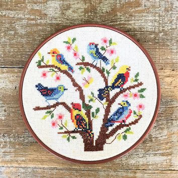 Embroidery Wall Art Bird Cross Stitch Framed Embroidery Wall Hanging Framed Crewel Picture Needlepoint Wall Hanging Cottage Chic