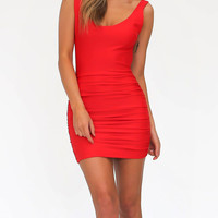 Red Backless Ruched Bodycon Mini Dress