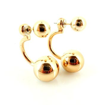 Affordable Wedding Jewelry Gold Tone New Trend Double Sided Ear Jacket Ball Stud Earrings