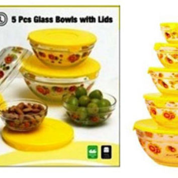 imperial home glass bowl w/ yellow sunflowers Case of 12