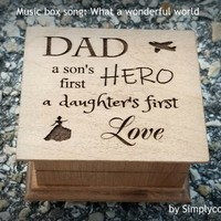 Father's day gift, music box, wooden music box, dad gift, gift for dad, dad music box, last minute gift, What a wonderful world, daddy gift