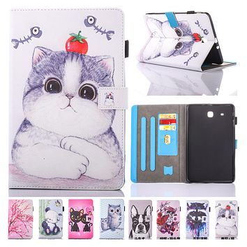For Coque Samsung Galaxy Tab Cute Cat Printed Folio Flip PU Leather Kickstand Tablet Case Cover