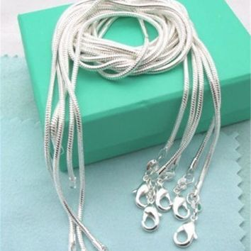 Lose Money Promotion!!!Hot Sale Silver Necklace ChainS 925 Stamped Fashion Jewelry Silver Plated Snake Chain 2MM 16-24inch Pick