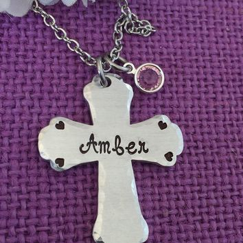 Memorial Necklace - Remembrance Jewelry - Cross Necklace - birthstone Necklace - Sympathy Gift - Loss of loved one - handstamped