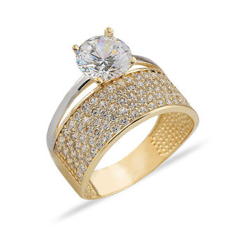 Solitaire Engagement 14k Solid Gold Ring Wedding Band
