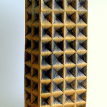 Modernist Ceramic Vase, large gold black waffle, brutalist