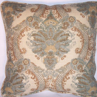 """Teal and Gold Vintage Damask Print Throw Pillow Waverly Enchantment Spa 17"""" Square Insert Included Ready Ship"""