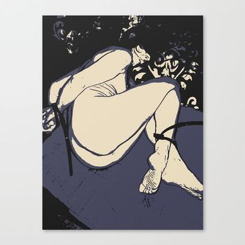 Slave girl in bondage, abstract fetish play, BDSM erotic nude, sexy naked woman tied Canvas Print by Peter Reiss