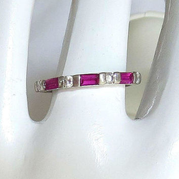 Art Deco Sterling Silver Synthetic Ruby and Diamond Ring Size 6.25 Vintage Wedding Bridal Band