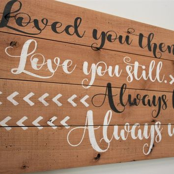 Loved You Then Love You Still Always Have Always Will Wood Pallet Sign Anniversary