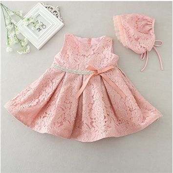 "The ""Maisley"" Lace Dress Flower Girl Party Dress + Bonnet"
