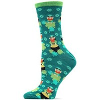 Hot Sox Originals Leprechauns with Clovers and Pots of Gold Crew Trouser Sock