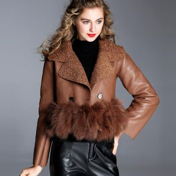 Cropped Fur Trimmed Leather Button Up Jacket