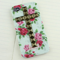 Brass Stud rose Hard Case Cover for Apple iPhone 4gs Case, iPhone 4s Case, iPhone 4 Hard Case