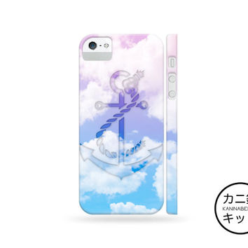 Ombre Clouds Anchor Design Case「 iPhone 6 5 5S 5C 4 4S iPod Touch Galaxy S5 S4 S3 Note 1 2 3 」