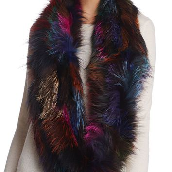 Multi-colour Fox Fur Infinity Scarf by Jocelyn