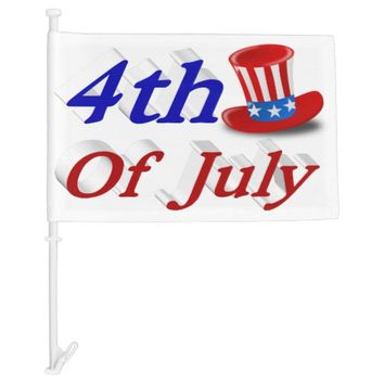 4th of July Uncle Sam Hat 3D Car Flags