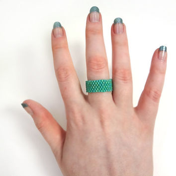 Mint Green Beaded Ring with Custom Size