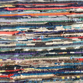 Rag Rug Large, Blues Reds and Oranges, Cotton Woven Loom Rug, Area Rugs, Boho Chic Shabby Rugs, Hippie Festival Rugs, 6' Floor Rug