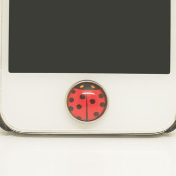 Retro Epoxy Red Ladybug Transparent Time Gems Alloy Cell Phone Home Button Sticker Charm for iPhone 6,4s,4g,5,5c