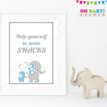 Elephant Baby Shower Sign, Boy Baby Shower, Please help yourself to some snacks, Blue and Gray Printable Download Baby Decor ELLBG