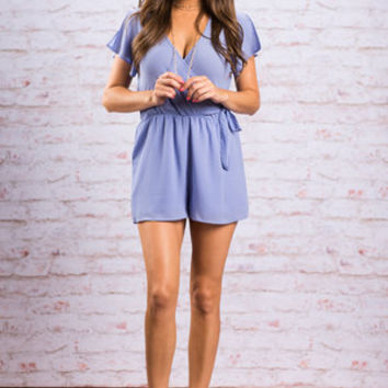 Celebrated Charm Romper, Periwinkle