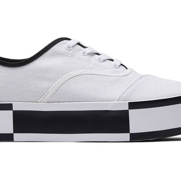 TOMS - Venice Collection Black White Canvas Platform Women's Cordones Boardwalk Sneakers