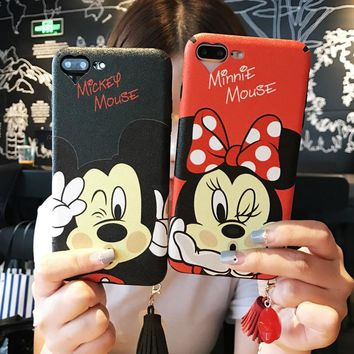 Mickey Minnie Mouse Women Coque Fundas Cover Phone Cases For Apple iPhone 6 6plus 6s plus 7 7 plus  Case Tassel Pendant Shell