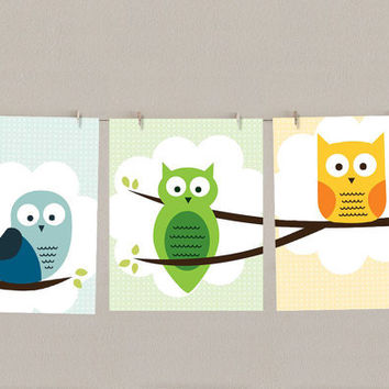 Owl Wall Art - Nursery Decor - Children's Print - Set of 3, each 8x10