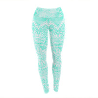 "Nika Martinez ""Boho Flower Mandala in Teal"" Aqua Green Yoga Leggings"