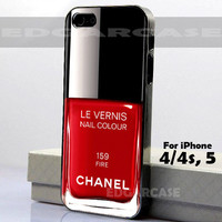 159 Fire, Le Vernis - Hard Cover, Nail Polish - For iPhone 4 / 4S, iPhone 5 - Black / White Case