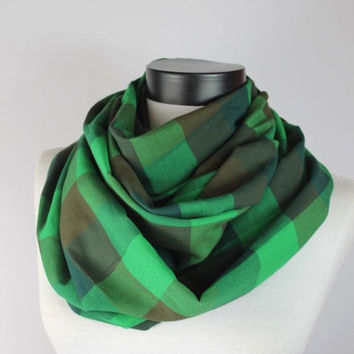 green plaid infinity scarf, scarf, scarves, long scarf, loop scarf, gift