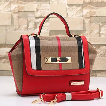 Perfect Burberry Women Fashion Leather Shoulder Bag Satchel Crossbody