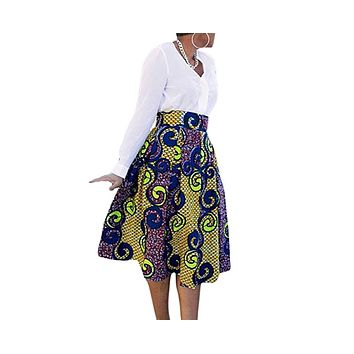 Women's African Print Knee Length Flare Skirts With Pockets, Multi-Color, Sizes Small - XLarge