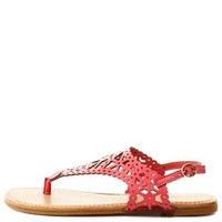 Bamboo Laser Cut-Out Slingback Thong Sandals