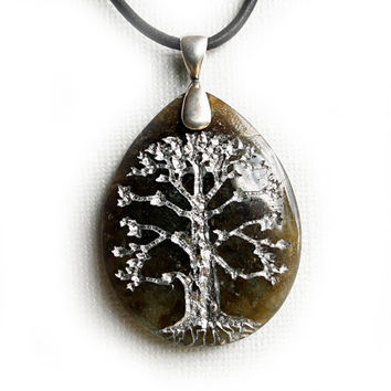 Tree of Life - Engraved Labradorite Stone Pendant