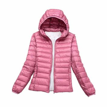 Tengo Fashion Brand Winter 90% White Duck Down Parka Jacket Women Ultra Light Down Jacket Jacket Female Warm Hooded Vest Coat